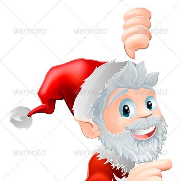 Santa Peeking and Pointing