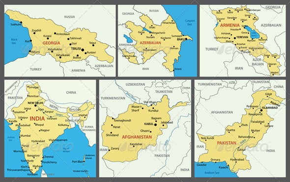 Maps of Asian Countries. Part 2. - Travel Conceptual