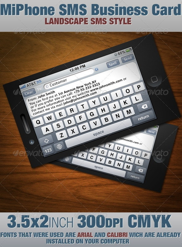 MiPhone SMS Business Card - Real Objects Business Cards