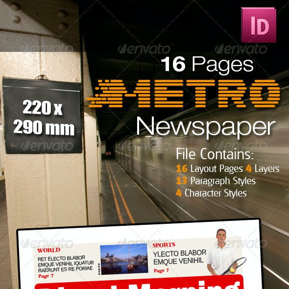 16 Pages Metro Newspaper