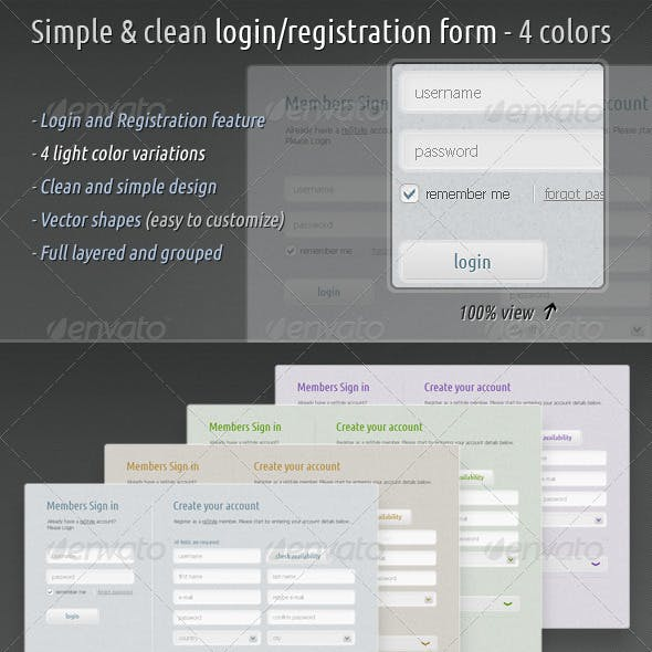 Simple & Clean Login / Registration Form - 4 Colors