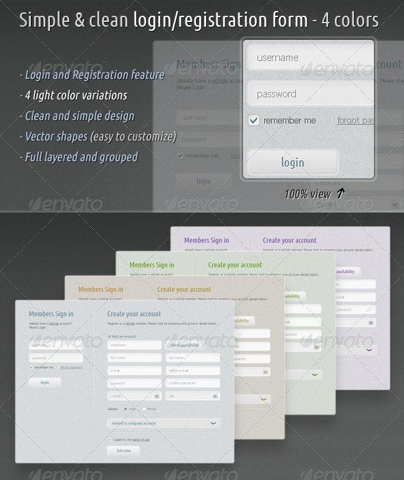 Simple & Clean Login / Registration Form - 4 Colors - Forms Web Elements