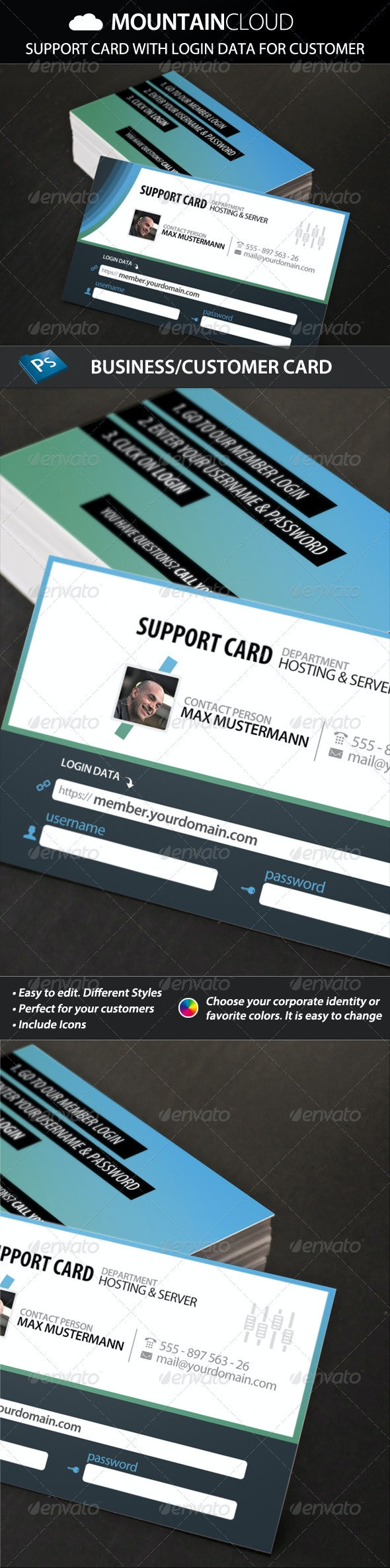 Mountain Cloud -Support & Customer Card with Login - Corporate Business Cards