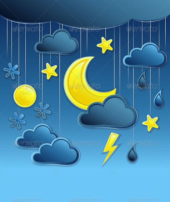 Vector Background with Night Weather Icon  - Seasons Nature