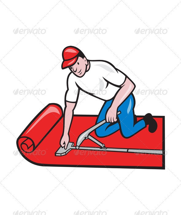 Carpet Layer Fitter Worker Cartoon - Industries Business