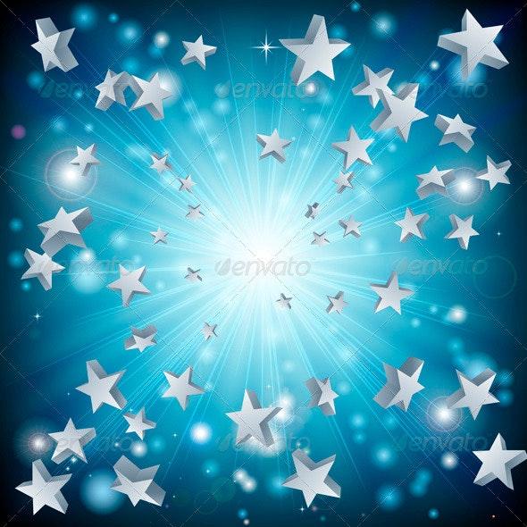 Blue Star Explosion Background - Backgrounds Decorative