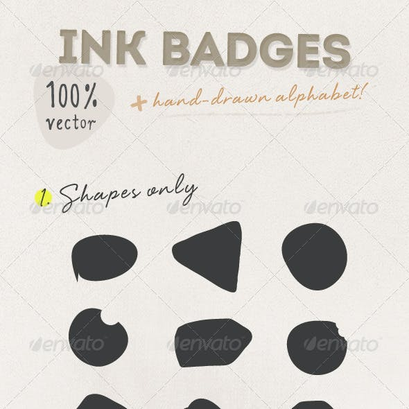 Ink Badges with Hand-drawn Alphabet