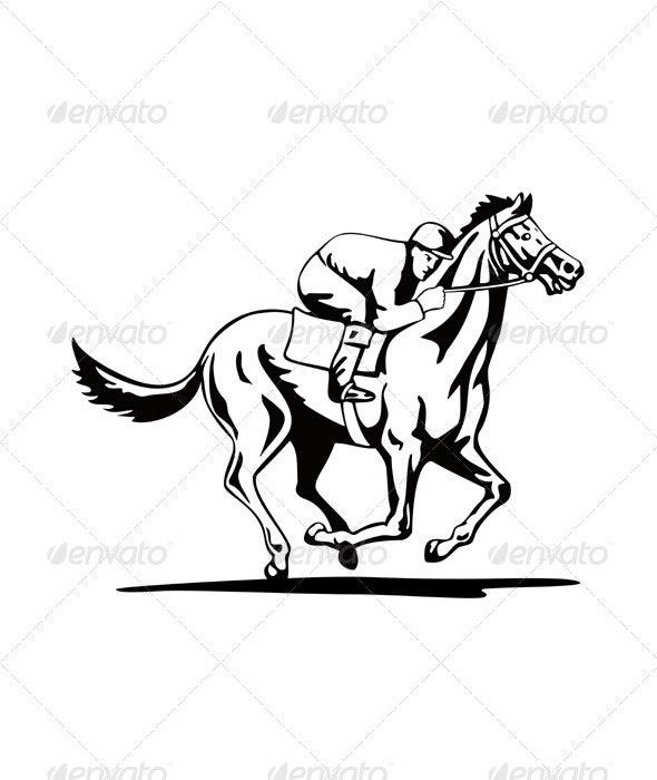 Horse and Jockey Racing Retro - Sports/Activity Conceptual