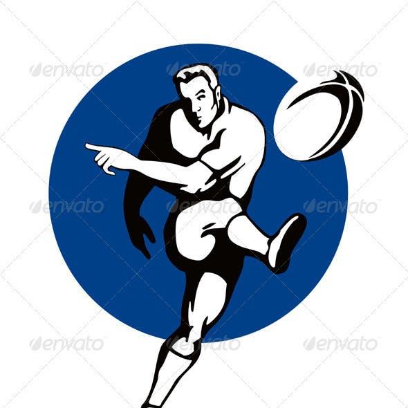 Rugby Player Kicking Ball Retro