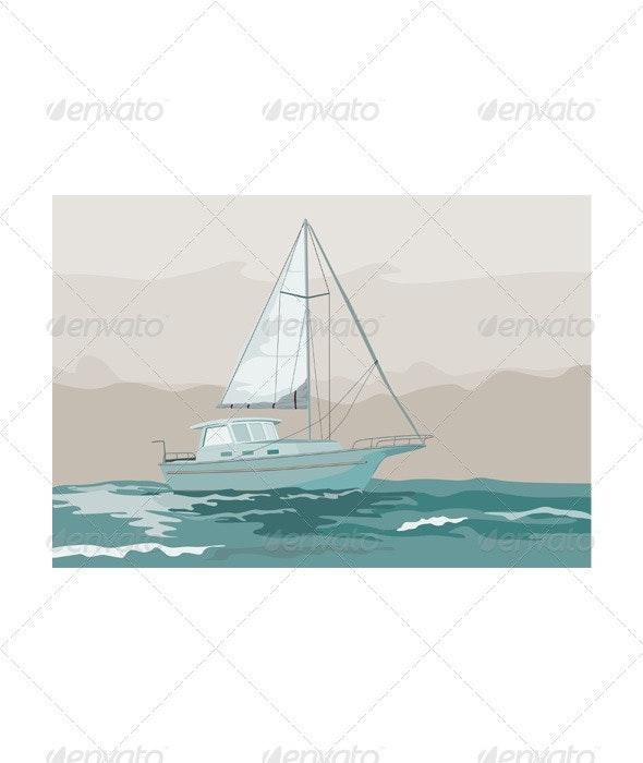 Sailboat Retro - Travel Conceptual