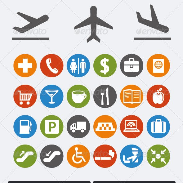 Icons and pointers for navigation in airport