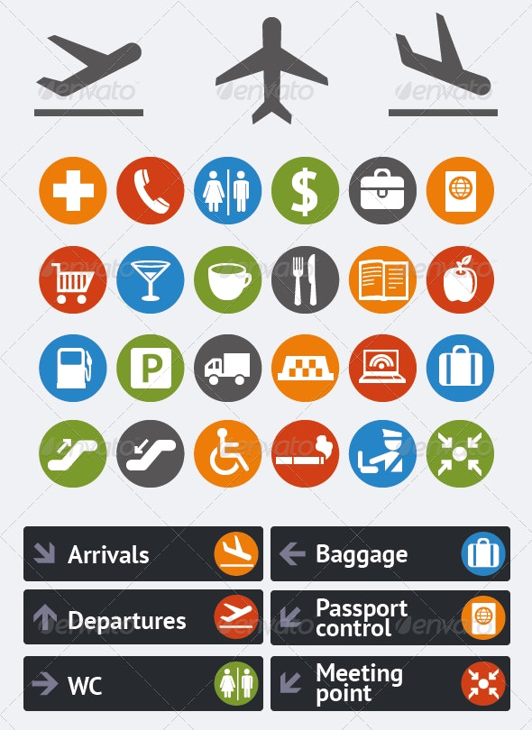 Icons and pointers for navigation in airport - Objects Icons