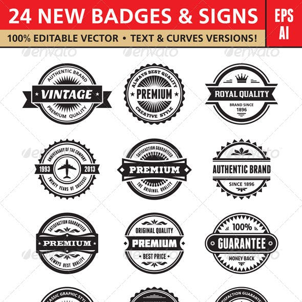 24 New Badges & Signs