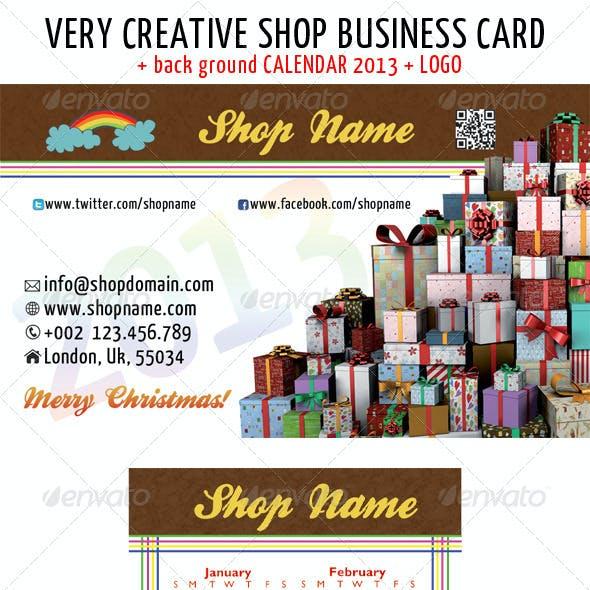 Christmas shop business card