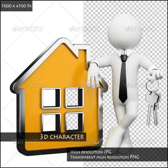 3D Businessman White People. Real Estate - Characters 3D Renders