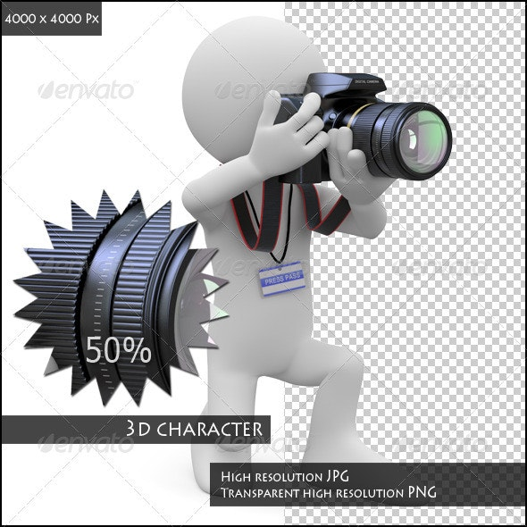 Photographer Kneeling with his SLR Camera - Characters 3D Renders
