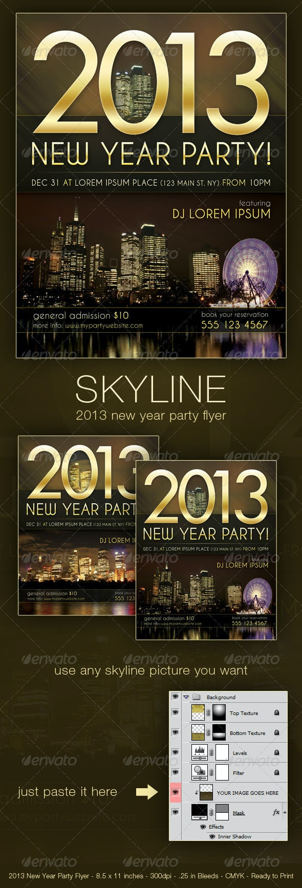 Skyline - New Year Party Flyer - Clubs & Parties Events