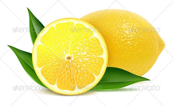 Fresh lemons with leaves - Food Objects