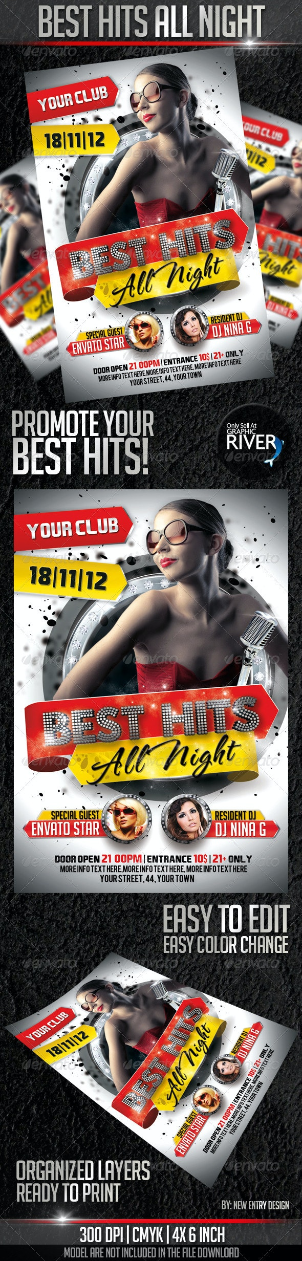 Hits All Night Flyer Template - Clubs & Parties Events