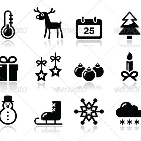 Christmas winter black icons set