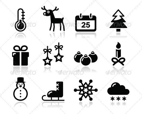 Christmas winter black icons set - Christmas Seasons/Holidays