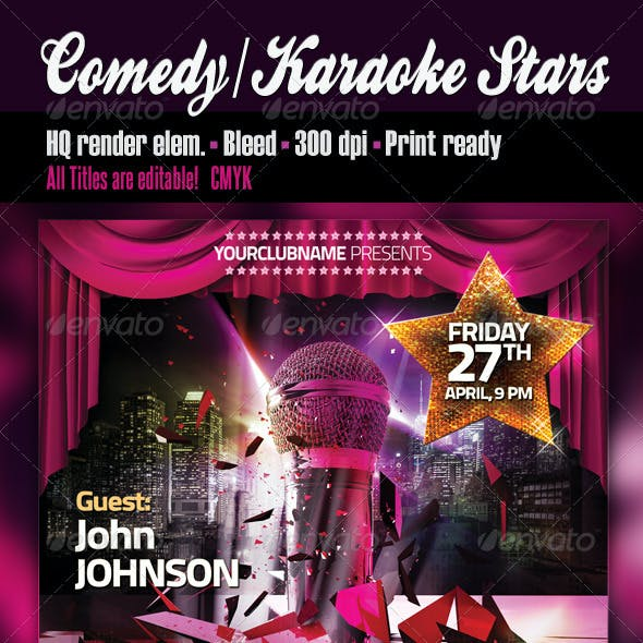 Comedy Or Karaoke Stars Party Flyer