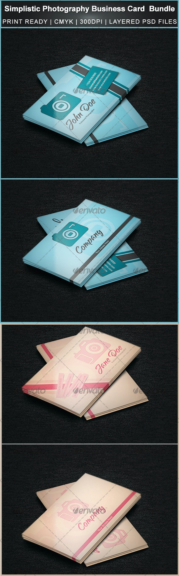 Simplistic Photography Business Card Bundle - Industry Specific Business Cards
