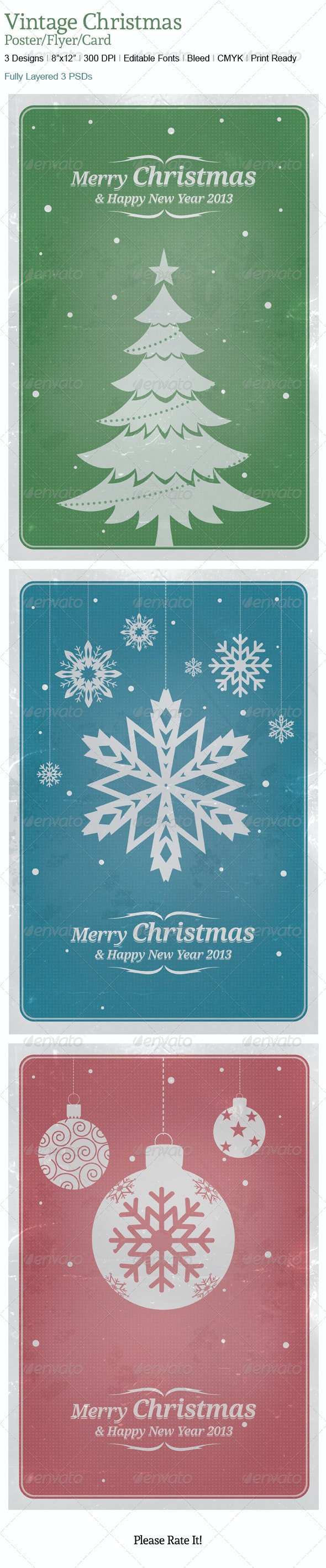 Vintage Chrstmas Poster/Cards Backgrounds - Holiday Greeting Cards