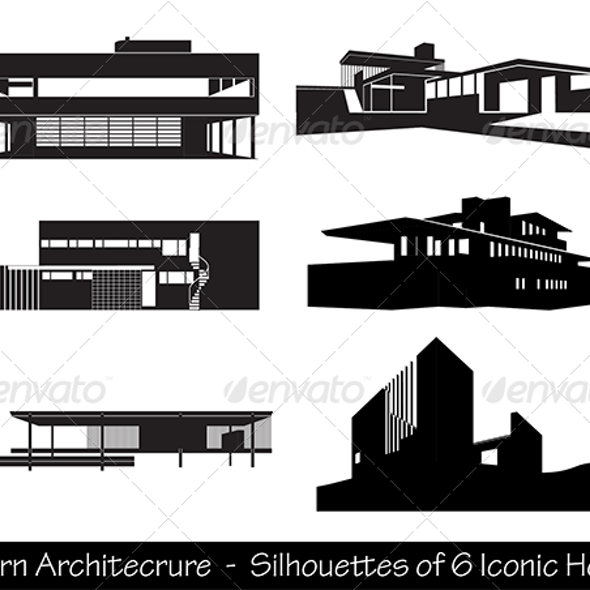 Silhouettes of Iconic Modern Houses