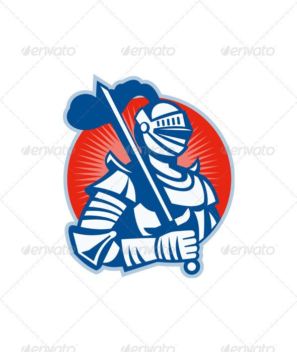 Knight Full Armor With Sword Retro  - People Characters