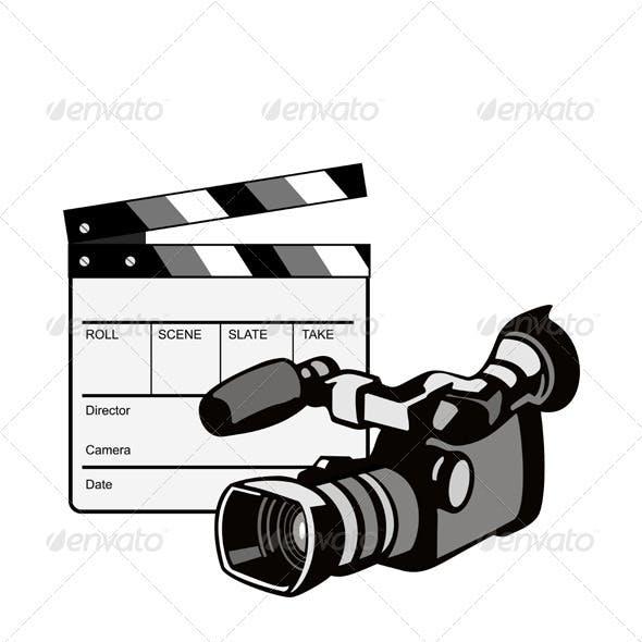 Video Camera Movie Clapboard Retro