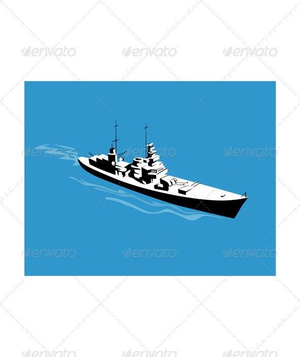 World War Two Battleship Warship Cruiser Retro  - Miscellaneous Vectors