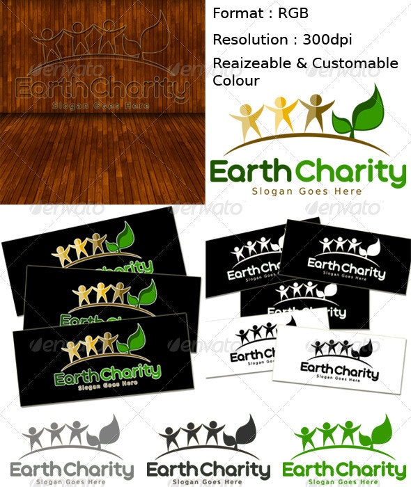 Earth Charity - Humans Logo Templates