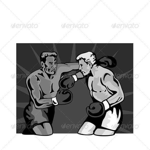 Boxer Boxing Knockout Punch Retr