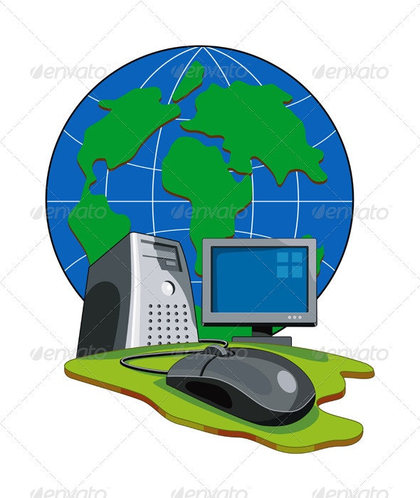 Computer Mouse Connected Globe Retro  - Web Technology