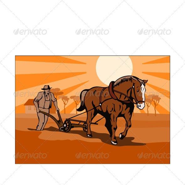 Farmer and Horse Plowing Farm Retro