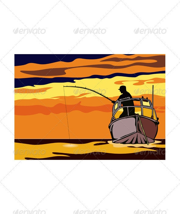 Fly Fisherman Rod and Reel Retro - Sports/Activity Conceptual