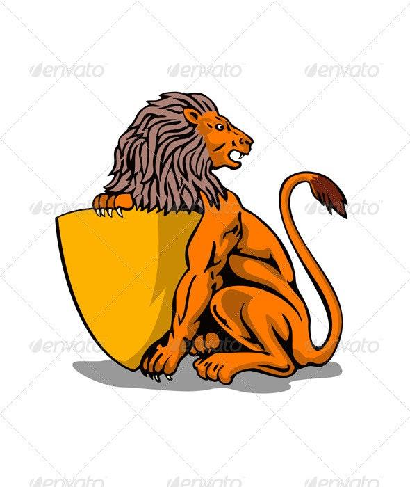 Lion Shield Retro - Animals Characters