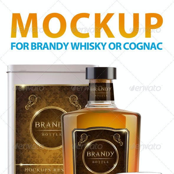Brandy Whisky or Cognac Mockup