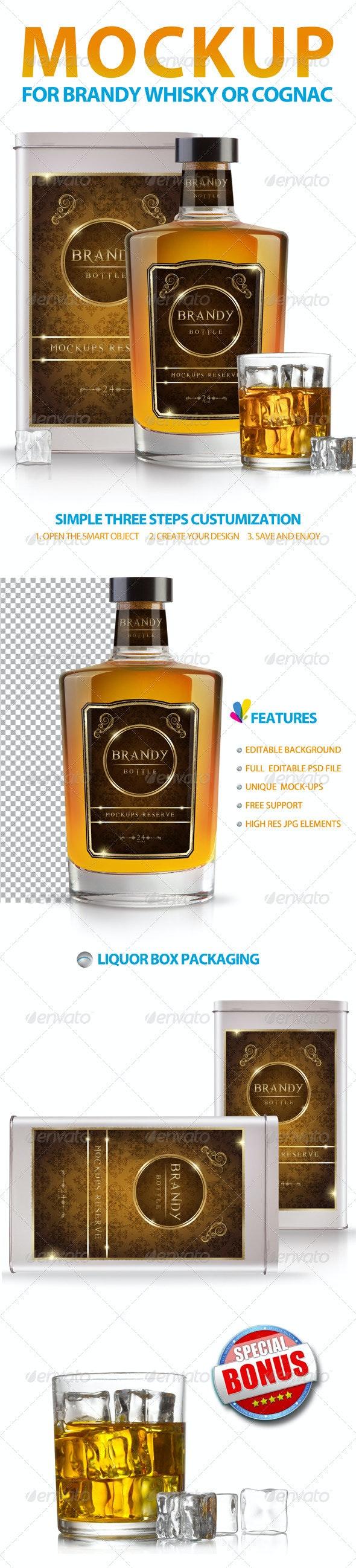 Brandy Whisky or Cognac Mockup - Food and Drink Packaging