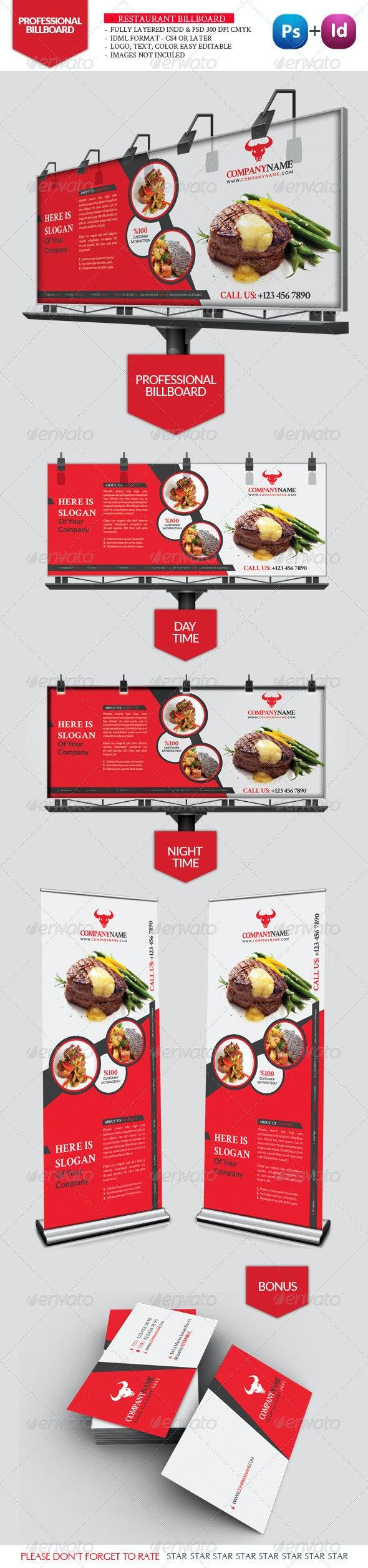 Restaurant Business Billboard - Signage Print Templates