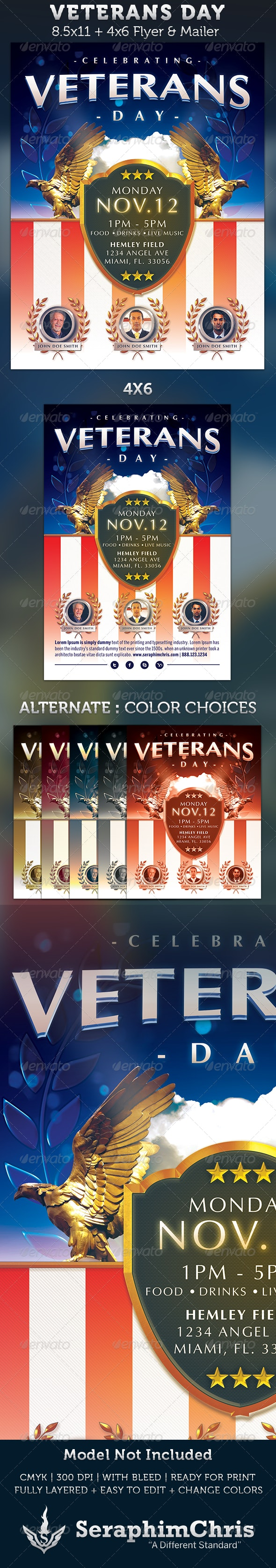 Veterans Day Flyer Template - Holidays Events