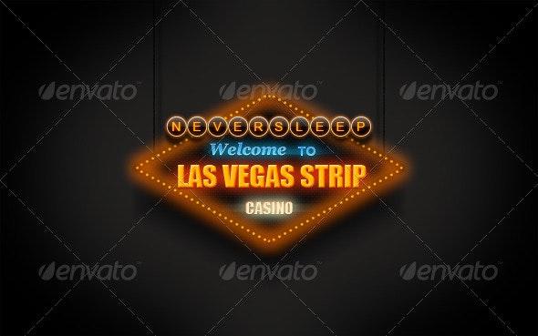 Las Vegas Neon Sign - Objects Illustrations