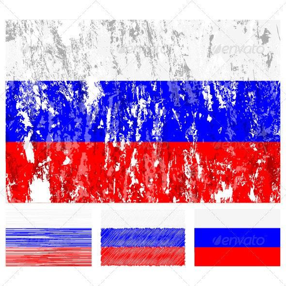 Russia grunge flag set - Conceptual Vectors