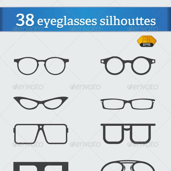 38 Vector Eyeglasses Silhouettes