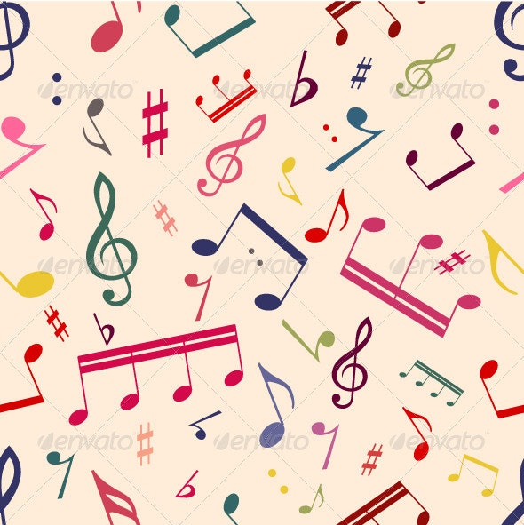Musical Notes Seamless Pattern - Patterns Decorative