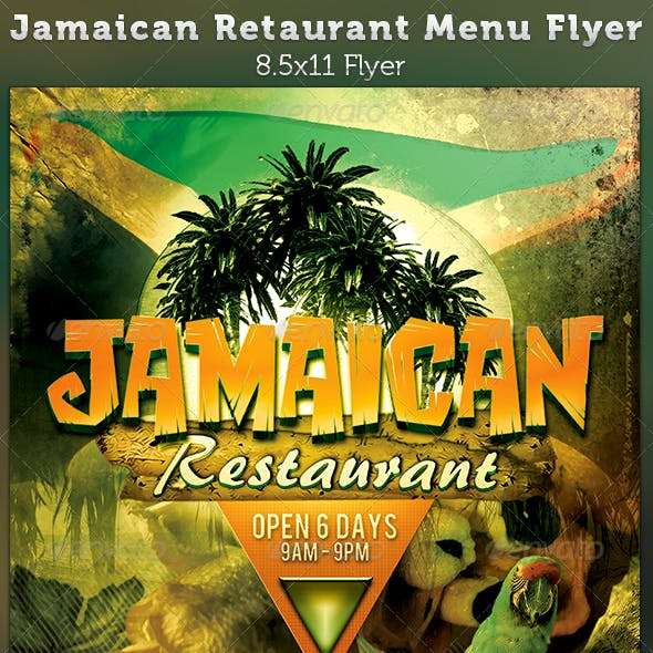 Jamaican Restaurant Menu Flyer Template