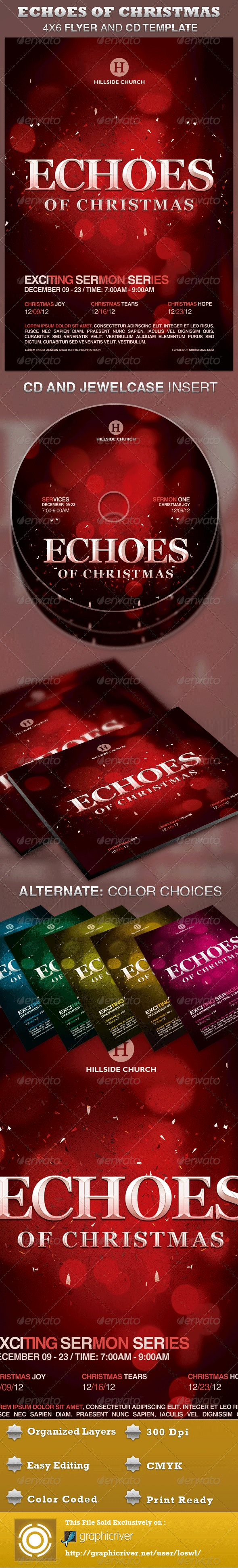 Echoes of Christmas Church Flyer and CD Template - Church Flyers