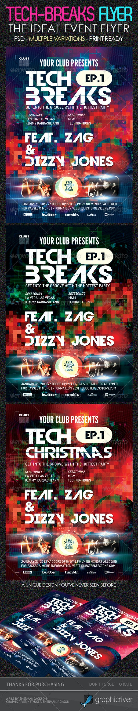 Tech Breaks Flyer Template - Clubs & Parties Events