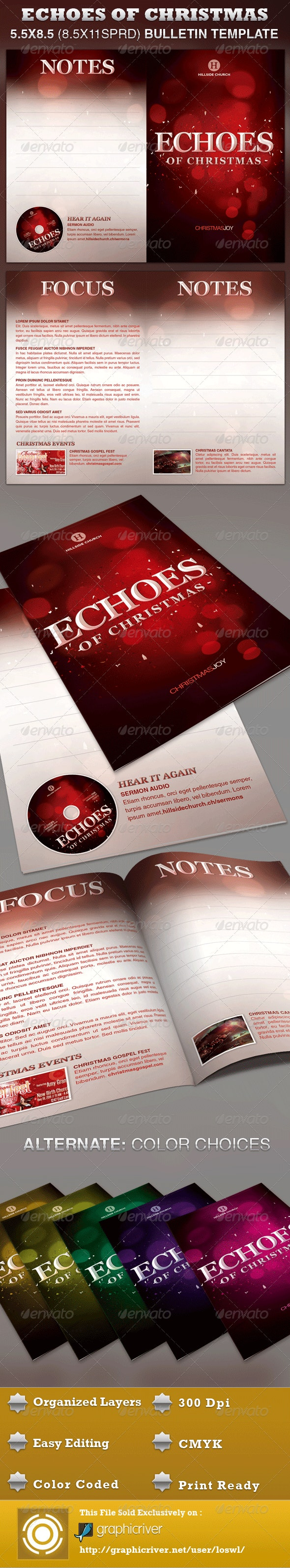 Echoes of Christmas Church Bulletin Template - Informational Brochures